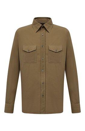 Мужская хлопковая рубашка TOM FORD хаки цвета, арт. 2FT499/94UMMI | Фото 1 (Длина (для топов): Стандартные; Материал внешний: Хлопок; Рукава: Длинные; Случай: Повседневный; Принт: Однотонные; Стили: Кэжуэл; Рубашки М: Slim Fit; Воротник: Кент; Манжеты: На кнопках)