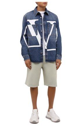 Мужские хлопковые шорты ACNE STUDIOS светло-зеленого цвета, арт. CE0014/M   Фото 2 (Материал внешний: Хлопок; Длина Шорты М: Ниже колена; Кросс-КТ: Трикотаж; Принт: Без принта; Стили: Спорт-шик)