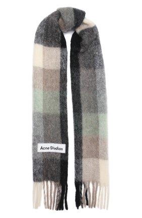 Мужской шарф ACNE STUDIOS серого цвета, арт. CA0084/M   Фото 1 (Материал: Шерсть; Кросс-КТ: шерсть)