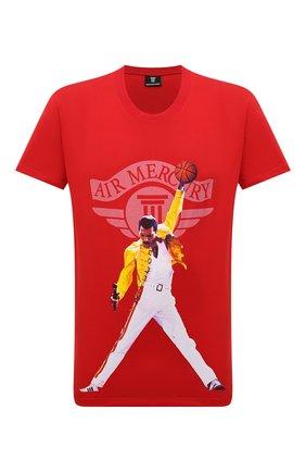 Мужская хлопковая футболка DIEGO VENTURINO красного цвета, арт. FW21-DV TS0 AFM01 | Фото 1 (Рукава: Короткие; Длина (для топов): Стандартные; Материал внешний: Хлопок; Принт: С принтом; Стили: Гранж)