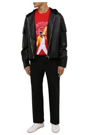 Мужская хлопковая футболка DIEGO VENTURINO красного цвета, арт. FW21-DV TS0 AFM01 | Фото 2 (Рукава: Короткие; Длина (для топов): Стандартные; Материал внешний: Хлопок; Принт: С принтом; Стили: Гранж)