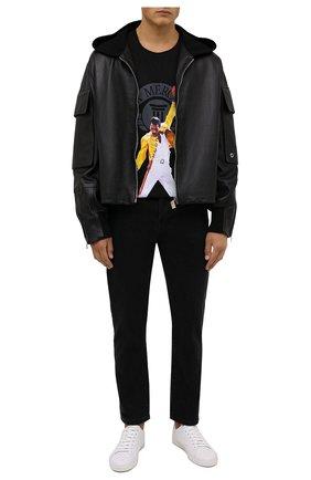 Мужская хлопковая футболка DIEGO VENTURINO черного цвета, арт. FW21-DV TS0 AFM01   Фото 2