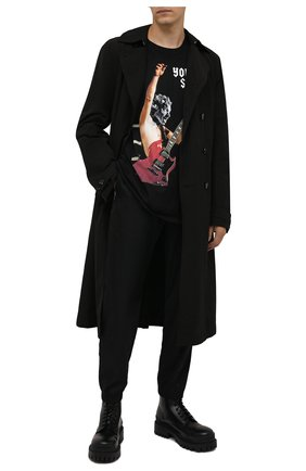 Мужская хлопковая футболка DIEGO VENTURINO черного цвета, арт. FW21-DV TS0 YSB | Фото 2