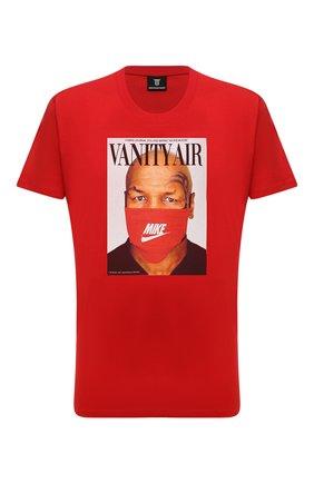 Мужская хлопковая футболка DIEGO VENTURINO красного цвета, арт. FW21-DV TS0 VAT | Фото 1 (Материал внешний: Хлопок; Принт: С принтом; Рукава: Короткие; Стили: Гранж; Длина (для топов): Стандартные)