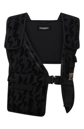 Мужской жилет DOLCE & GABBANA черного цвета, арт. G9V01Z/HUMD6   Фото 1 (Длина (верхняя одежда): Короткие; Материал подклада: Синтетический материал; Материал внешний: Синтетический материал; Кросс-КТ: Куртка; Стили: Кэжуэл)