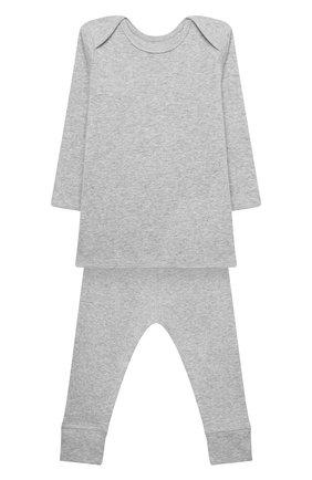 Детский хлопковая пижама BONPOINT серого цвета, арт. PEBIOENSEMB(092)_824271 | Фото 1 (Материал внешний: Хлопок; Рукава: Длинные; Ростовка одежда: 9 мес | 74 см)