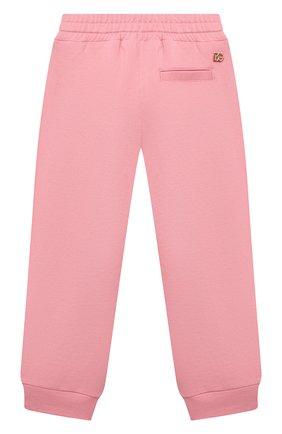 Детские хлопковые джоггеры DOLCE & GABBANA розового цвета, арт. L5JP7T/G7BDM/2-6 | Фото 2 (Материал внешний: Хлопок; Девочки Кросс-КТ: Брюки-одежда; Ростовка одежда: 2 года | 92 см, 3 года | 98 см, 4 года | 104 см, 5 лет | 110 см, 6 лет | 116 см)