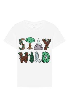 Детский хлопковая футболка STELLA MCCARTNEY белого цвета, арт. 603085/SRJA1 | Фото 1