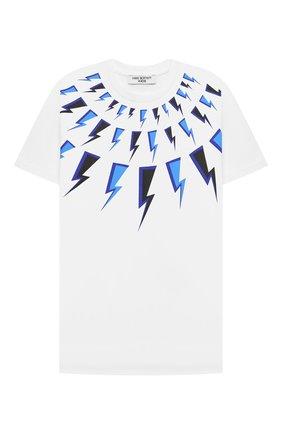 Детская хлопковая футболка NEIL BARRETT KIDS белого цвета, арт. 028933 | Фото 1