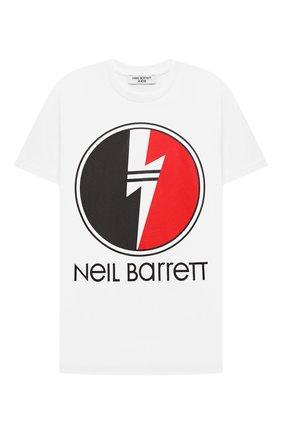 Детская хлопковая футболка NEIL BARRETT KIDS белого цвета, арт. 028931 | Фото 1