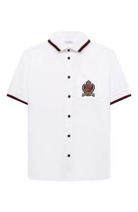 Детская хлопковая рубашка DOLCE & GABBANA белого цвета, арт. L43S43/G7BHT/8-14 | Фото 1 (Рукава: Короткие; Материал внешний: Хлопок; Стили: Классический; Ростовка одежда: 10 - 11 лет | 140 - 146см, 12 лет | 152 см, 8 лет | 128 см)
