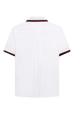 Детская хлопковая рубашка DOLCE & GABBANA белого цвета, арт. L43S43/G7BHT/8-14 | Фото 2 (Рукава: Короткие; Материал внешний: Хлопок; Стили: Классический; Ростовка одежда: 10 - 11 лет | 140 - 146см, 12 лет | 152 см, 8 лет | 128 см)