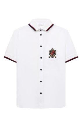Детская хлопковая рубашка DOLCE & GABBANA белого цвета, арт. L43S43/G7BHT/2-6 | Фото 1 (Рукава: Короткие; Материал внешний: Хлопок; Стили: Классический; Ростовка одежда: 2 года | 92 см, 3 года | 98 см, 4 года | 104 см, 5 лет | 110 см, 6 лет | 116 см)