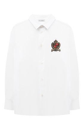 Детская хлопковая рубашка DOLCE & GABBANA белого цвета, арт. L42S70/G7A8C/2-6 | Фото 1 (Материал внешний: Хлопок; Рукава: Длинные; Стили: Классический; Ростовка одежда: 2 года | 92 см, 3 года | 98 см, 4 года | 104 см, 5 лет | 110 см, 6 лет | 116 см)