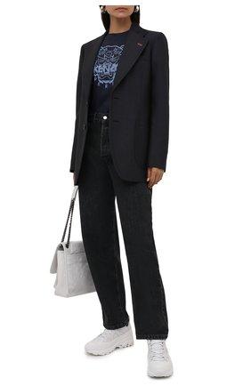 Женская хлопковая футболка KENZO темно-синего цвета, арт. FB62TS8404YG | Фото 2