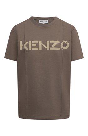 Женская хлопковая футболка KENZO хаки цвета, арт. FB62TS6534SB | Фото 1 (Длина (для топов): Стандартные; Материал внешний: Хлопок; Рукава: Короткие; Женское Кросс-КТ: Футболка-одежда; Принт: С принтом; Стили: Спорт-шик)