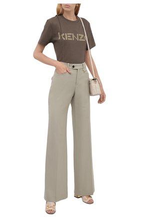 Женская хлопковая футболка KENZO хаки цвета, арт. FB62TS6534SB | Фото 2 (Длина (для топов): Стандартные; Материал внешний: Хлопок; Рукава: Короткие; Женское Кросс-КТ: Футболка-одежда; Принт: С принтом; Стили: Спорт-шик)