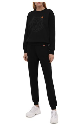 Женский хлопковый свитшот KENZO черного цвета, арт. FB62SW8314M0 | Фото 2 (Длина (для топов): Стандартные; Рукава: Длинные; Материал внешний: Хлопок; Женское Кросс-КТ: Свитшот-одежда; Стили: Спорт-шик)