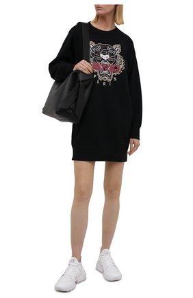 Женское хлопковое платье KENZO черного цвета, арт. FB62R07744XA   Фото 2 (Длина Ж (юбки, платья, шорты): Мини; Материал внешний: Хлопок; Рукава: Длинные; Женское Кросс-КТ: Платье-одежда; Случай: Повседневный; Стили: Спорт-шик; Кросс-КТ: Трикотаж)