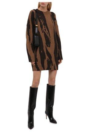 Женское платье KENZO коричневого цвета, арт. FB62R06053CE   Фото 2 (Рукава: Длинные; Длина Ж (юбки, платья, шорты): Мини; Материал внешний: Синтетический материал; Женское Кросс-КТ: Платье-одежда; Случай: Повседневный; Стили: Кэжуэл; Кросс-КТ: Трикотаж)