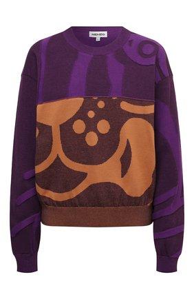 Женский хлопковый пуловер KENZO фиолетового цвета, арт. FB62PU6403TC   Фото 1 (Материал внешний: Хлопок; Длина (для топов): Стандартные; Рукава: Длинные; Женское Кросс-КТ: Пуловер-одежда; Стили: Кэжуэл)