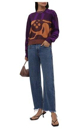 Женский хлопковый пуловер KENZO фиолетового цвета, арт. FB62PU6403TC   Фото 2 (Материал внешний: Хлопок; Длина (для топов): Стандартные; Рукава: Длинные; Женское Кросс-КТ: Пуловер-одежда; Стили: Кэжуэл)