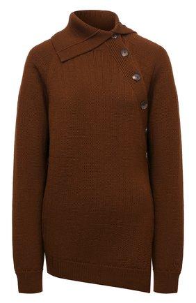 Женский шерстяной пуловер KENZO коричневого цвета, арт. FB62PU6303TB   Фото 1 (Длина (для топов): Стандартные; Рукава: Длинные; Материал внешний: Шерсть; Женское Кросс-КТ: Пуловер-одежда; Стили: Кэжуэл)