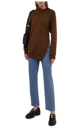 Женский шерстяной пуловер KENZO коричневого цвета, арт. FB62PU6303TB   Фото 2 (Длина (для топов): Стандартные; Рукава: Длинные; Материал внешний: Шерсть; Женское Кросс-КТ: Пуловер-одежда; Стили: Кэжуэл)