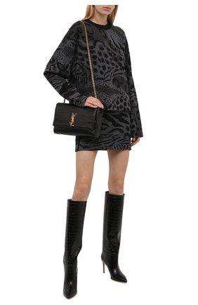 Женский пуловер из шерсти и хлопка KENZO серого цвета, арт. FB62PU6273CF   Фото 2 (Длина (для топов): Стандартные; Материал внешний: Шерсть, Хлопок; Рукава: Длинные; Женское Кросс-КТ: Пуловер-одежда; Стили: Кэжуэл)