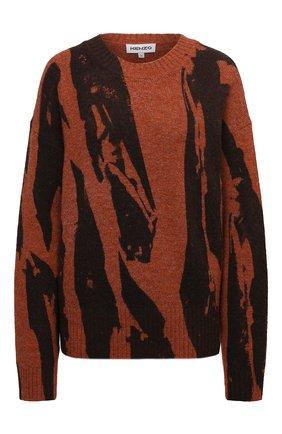 Женский пуловер KENZO коричневого цвета, арт. FB62PU6053CE   Фото 1 (Длина (для топов): Стандартные; Рукава: Длинные; Материал внешний: Синтетический материал; Женское Кросс-КТ: Пуловер-одежда; Стили: Кэжуэл)