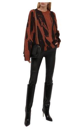 Женский пуловер KENZO коричневого цвета, арт. FB62PU6053CE   Фото 2 (Длина (для топов): Стандартные; Рукава: Длинные; Материал внешний: Синтетический материал; Женское Кросс-КТ: Пуловер-одежда; Стили: Кэжуэл)