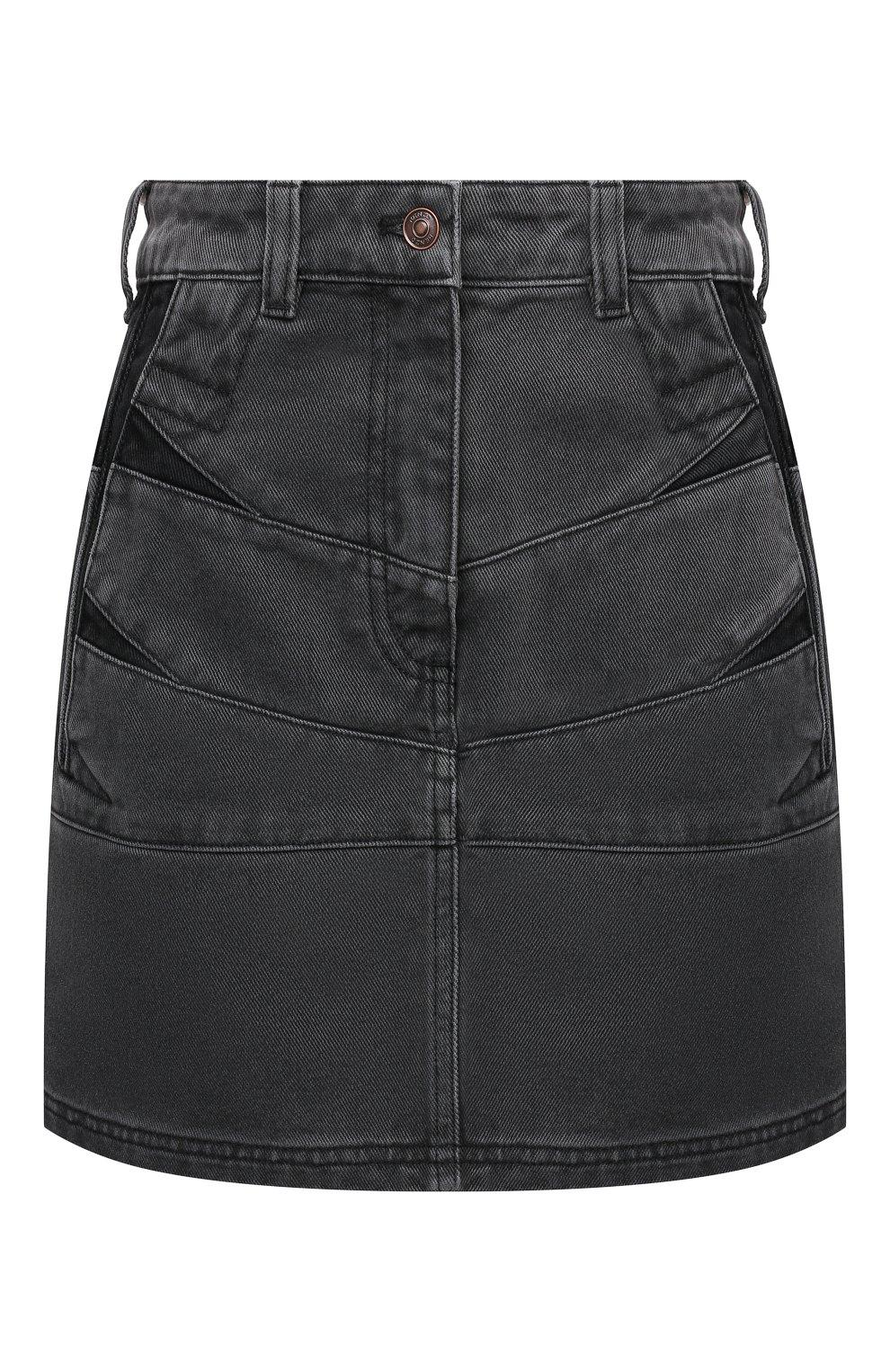 Женская джинсовая юбка KENZO серого цвета, арт. FB62DJ2619FD | Фото 1 (Кросс-КТ: Деним; Длина Ж (юбки, платья, шорты): Мини; Стили: Гранж; Женское Кросс-КТ: Юбка-одежда; Материал внешний: Хлопок)