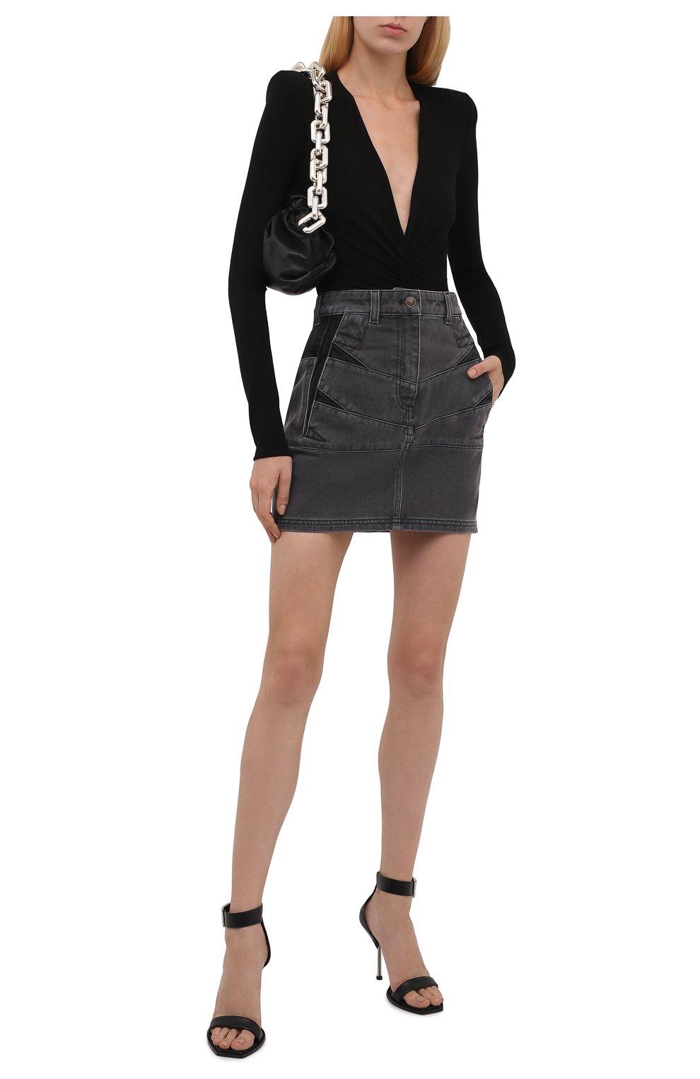 Женская джинсовая юбка KENZO серого цвета, арт. FB62DJ2619FD | Фото 2 (Кросс-КТ: Деним; Длина Ж (юбки, платья, шорты): Мини; Стили: Гранж; Женское Кросс-КТ: Юбка-одежда; Материал внешний: Хлопок)