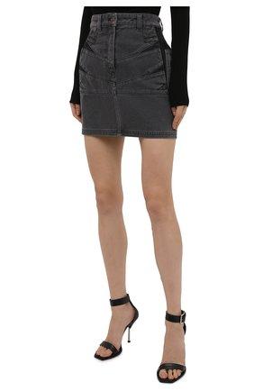 Женская джинсовая юбка KENZO серого цвета, арт. FB62DJ2619FD | Фото 3 (Кросс-КТ: Деним; Длина Ж (юбки, платья, шорты): Мини; Стили: Гранж; Женское Кросс-КТ: Юбка-одежда; Материал внешний: Хлопок)