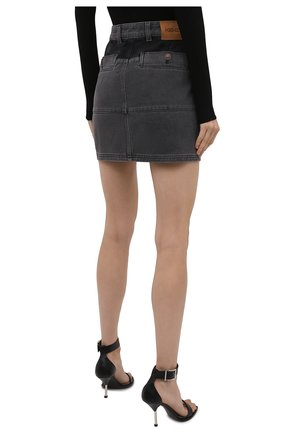 Женская джинсовая юбка KENZO серого цвета, арт. FB62DJ2619FD | Фото 4 (Кросс-КТ: Деним; Длина Ж (юбки, платья, шорты): Мини; Стили: Гранж; Женское Кросс-КТ: Юбка-одежда; Материал внешний: Хлопок)