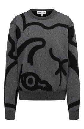 Женский хлопковый пуловер KENZO темно-серого цвета, арт. FB52PU5863TC   Фото 1 (Материал внешний: Хлопок; Рукава: Длинные; Длина (для топов): Стандартные; Женское Кросс-КТ: Пуловер-одежда; Стили: Кэжуэл)