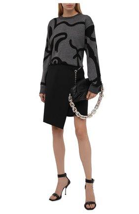 Женский хлопковый пуловер KENZO темно-серого цвета, арт. FB52PU5863TC   Фото 2 (Материал внешний: Хлопок; Рукава: Длинные; Длина (для топов): Стандартные; Женское Кросс-КТ: Пуловер-одежда; Стили: Кэжуэл)