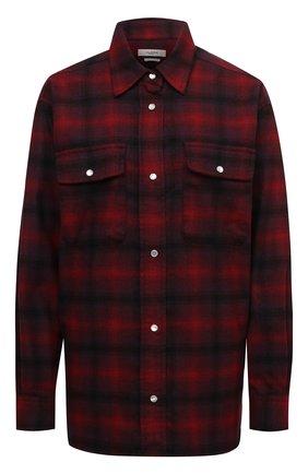 Женская шерстяная рубашка ISABEL MARANT ETOILE красного цвета, арт. CH0748-21A012E/MARCELIA | Фото 1 (Материал внешний: Синтетический материал, Шерсть; Рукава: Длинные; Длина (для топов): Удлиненные; Женское Кросс-КТ: Рубашка-одежда; Принт: С принтом, Клетка; Стили: Гранж)