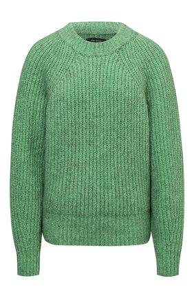 Женский свитер ISABEL MARANT зеленого цвета, арт. PU1728-21A035I/R0SY | Фото 1 (Материал внешний: Хлопок; Длина (для топов): Стандартные; Рукава: Длинные; Женское Кросс-КТ: Свитер-одежда; Стили: Романтичный)