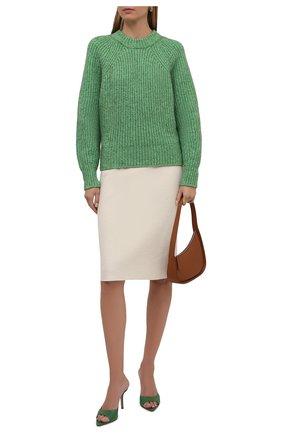 Женский свитер ISABEL MARANT зеленого цвета, арт. PU1728-21A035I/R0SY | Фото 2 (Материал внешний: Хлопок; Длина (для топов): Стандартные; Рукава: Длинные; Женское Кросс-КТ: Свитер-одежда; Стили: Романтичный)
