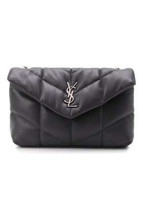 Женская сумка puffer loulou mini SAINT LAURENT темно-серого цвета, арт. 620333/1EL00 | Фото 1 (Материал: Натуральная кожа; Сумки-технические: Сумки через плечо; Ремень/цепочка: На ремешке; Размер: mini)