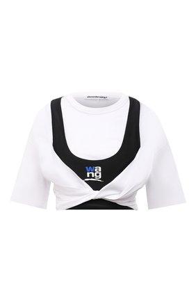 Женская хлопковая футболка ALEXANDERWANG.T черно-белого цвета, арт. 4CC3211208 | Фото 1