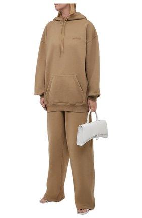Женские хлопковые брюки BALENCIAGA бежевого цвета, арт. 674594/TKVB5 | Фото 2