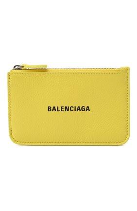 Женский кожаный футляр для кредитных карт BALENCIAGA желтого цвета, арт. 637130/1IZI3 | Фото 1