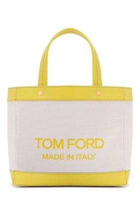Женский сумка-шопер t-screw mini TOM FORD салатового цвета, арт. L1494T-ICN002 | Фото 1 (Материал: Текстиль; Сумки-технические: Сумки-шопперы; Ремень/цепочка: На ремешке; Размер: mini)