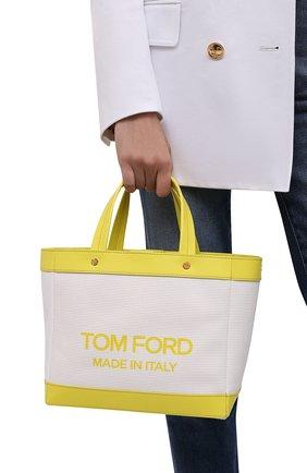 Женский сумка-шопер t-screw mini TOM FORD салатового цвета, арт. L1494T-ICN002 | Фото 2 (Материал: Текстиль; Сумки-технические: Сумки-шопперы; Ремень/цепочка: На ремешке; Размер: mini)