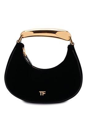 Женская сумка bianca mini TOM FORD черного цвета, арт. L1470T-TVE005   Фото 1 (Размер: mini; Материал: Текстиль; Сумки-технические: Сумки top-handle, Сумки через плечо)