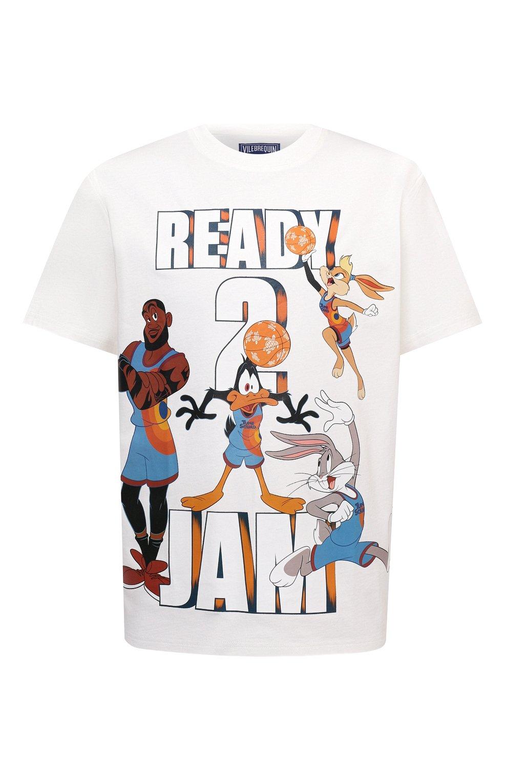 Мужская хлопковая футболка vilebrequin x space jam VILEBREQUIN белого цвета, арт. EDTZ1P67/052 | Фото 1 (Мужское Кросс-КТ: Футболка-пляж; Рукава: Короткие; Длина (для топов): Стандартные; Принт: С принтом; Материал внешний: Хлопок; Стили: Спорт-шик)