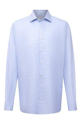Мужская хлопковая сорочка BRIONI голубого цвета, арт. RCL40P/0909G | Фото 1 (Длина (для топов): Стандартные; Рукава: Длинные; Материал внешний: Хлопок; Случай: Формальный; Стили: Классический; Принт: Клетка; Воротник: Акула; Рубашки М: Classic Fit; Манжеты: На пуговицах; Big sizes: Big Sizes)