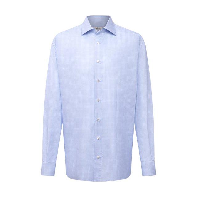 Хлопковая сорочка Brioni. Цвет: голубой